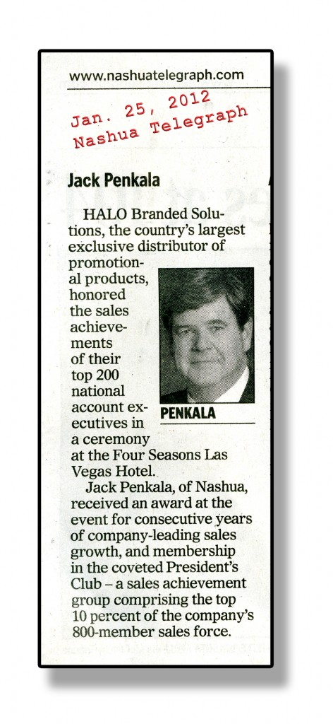 Press clipping from Test of Time Photography client Jack Penkala with his business portrait made by photographer Dan Splaine. ©2012 Daniel J. Splaine