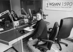 Kevin Willett in the WSMN radio station in Nashua, NH during his radio broadcast.  2011 Daniel J. Splaine
